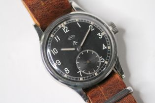 IWC MILITARY WWW WRIST WATCH, circular black dial with arabic numeral hour markers, subsidiary