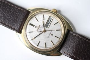 VINTAGE OMEGA CONSTELLATION AUTOMATIC, circular silver dial with baton hour markers, day and date