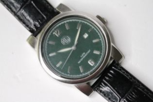 *TO BE SOLD WITHOUT RESERVE* GENTLEMAN'S MG QUARTZ WRIST WATCH, circular green dial with baton