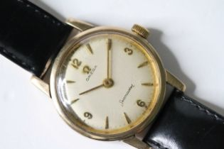VINTAGE 9ct OMEGA SEAMASTER DRESS WATCH , circular cream dial, Arabic and arrow hour markers, 33mm