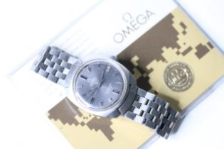 VINTAGE OMEGA SEAMASTER COSMIC WITH PAPERS 1973,circular grey dial with baton hour markers, date