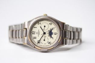 CONTINENTAL MOONPHASE CALENDAR QUARTZ WATCH, circular cream dial with arabic numeral hour markers,