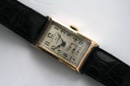 VINTAGE 9CT OMEGA DRESS WATCH CIRCA 1930s, rectangular silver dial with arabic numeral hour markers,