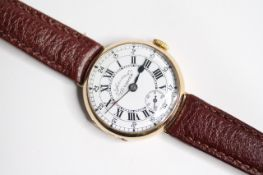 VINTAGE 9CT SERVICES AIRMAN WRIST WATCH CIRCA 1920s, circular white dial with roman numeral hour