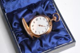 VINTAGE LADIES 14CT FOB BOXED POCKET WATCH, circular white dial with arabic numeral hour markers,