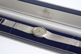 VINTAGE TISSOT 925 SILVER WRIST WATCH WITH BOX, oval silver dial with baton hour markers, 24mm 925