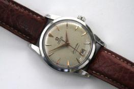 VINTAGE OMEGA SEAMASTER 'CALENDAR' AUTOMATIC CIRCA 1950s, circular cream dial with baton hour