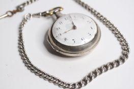 VINTAGE SILVER VERGE POCKET WATCH WITH ALBERT CHAIN, verge pocket watch, white dial with arabic