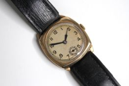 VINTAGE 9CT MANUAL WIND WATCH STERILE DIAL CIRCA 1940s, circular champagne dial with arabic