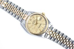ROLEX DATEJUST STEEL AND GOLD REFERENCE 16013 CIRCA 1986, circular champagne linen dial with baton