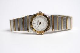LADIES OMEGA CONSTELLATION STEEL AND GOLD QUARTZ WATCH, circular white dial with dot hour markers