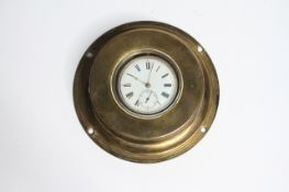 VINTAGE POCKET WATCH WITH BRASS NAUTICAL CASE, circular white dial with roman numeral hour