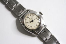 RARE LADIES ROLEX OYSTER PRECISION 1952 REFERENCE 5004, circular cream dial with arabic and baton