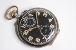 RARE VINTAGE ZENITH ALARM POCKET WATCH, circular black dial with arabic numeral hour markers,