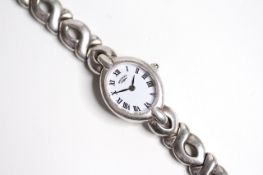 LADIES 925 SILVER ROTARY QUARTZ WATCH, oval white dial with roman numeral hour markers, 18mm 925