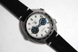 TAG HEUER AUTAVIA CHRONOGRAPH, circular white dial with baton hour markers, two subsidiary black and