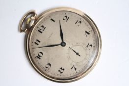VINTAGE AERO POCKET WATCH WITH BOX, circular patina dial with arabic numeral hour markers, blue