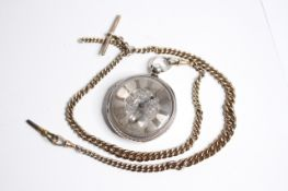 VINTAGE SILVER VERGE POCKET WATCH WITH CHAIN, verge pocket watch, silver dial with arabic numeral