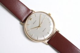 VINTAGE 9CT ROLEX PRECISION MANUAL WIND WATCH, circular silver dial with gold baton hour markers,