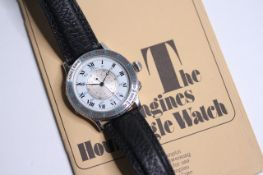 LONGINES LINDBERGH HOUR ANGLE WITH BOOKLET, circular white laquered dial with an inner rotating
