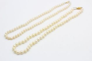 2 x 9ct gold clasp cultured pearl necklaces (37.7g)