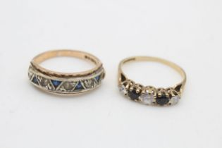 2 x 9ct gold gemstone rings inc. sapphire, half eternity, clear gemstone (4.1g)