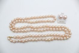 2 x 14ct gold clasp pearl single strand necklace & stud earrings set (65g)