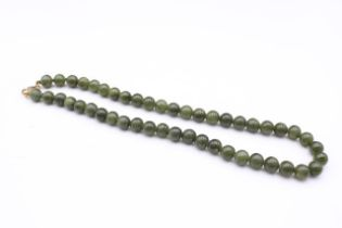 9ct gold clasp serpentine beaded necklace (39.7g)