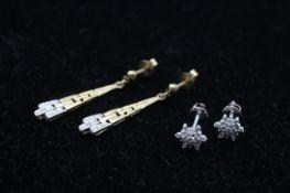 2 x 9ct gold diamond earrings inc. white gold drop, cluster (3.2g)