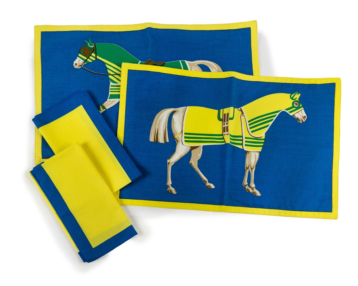 HERMES HORSE PLACEMAT AND NAPKINS