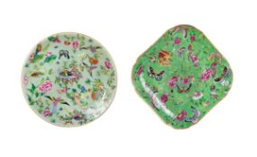 PAIR OF CHINESE GLEEN GLAZED BUTTERFLY DISHES