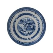 BLUE AND WHITE CHINESE EXPORT PLATE, QING DYNASTY