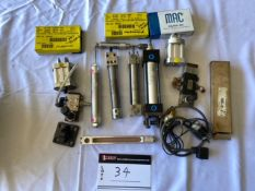 LOT OF VARIOUS CYLINDERS & SOLENOIDS