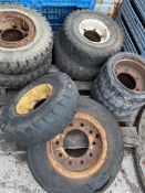LOT OF ASSORTED FORKLIFT TIRES 700 x 12; 660 x 10; 12 -12 x 17 NEW 10; 600 x 16