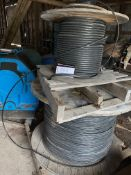"""LOT OF 3 CONDUCTORS, 12 GAUGE DIRECT BURIAL CABLE, 3FT DIAMETER SPOOL X 24"""" HIGH"""