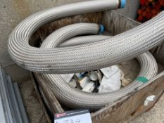 """4 X 4"""" S/S FLEX PIPE W/ 8 BOLT FLANGE ADD 4"""" PIPE THREADS ON END"""