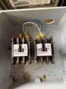 """LOT OF 8.5"""" X 8.5"""" PVC BOXES, 2 CUTLER HAMMER, 15 AMP 120 VOLT 3 POLE CONTACTORS, 3 X 25AMP CUTLER"""