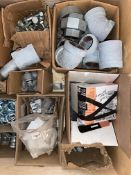 """LOT OF PIPE FITTINGS, 3"""" VICTAULIC STAINLESS STEEL, 3"""" BUSHINGS, TECH CONNECTORS, WIRE CONNECTORS,"""