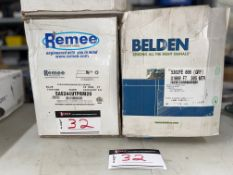 LOT/ (1) REMEE WIRE AND CABLE, 4 PR/24 AWG (ENHANCED 350 MHZ), 1000 FEET, (2) BELDEN, GREY 1000 FT.