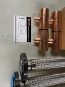 """LOT/12)COPPER TEES 2"""" - 1"""" PIPE SADDLES 10"""" (2) SS FLEX PIPE 4 BOLT FLANGES, APPROX 19 X 2"""