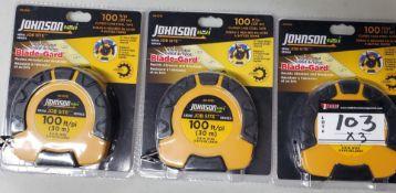 LOT/MEASURING TAPE, JOHNSON, 100 FT CLOSED CASE STEEL TAPE, 3PCS(NEW)