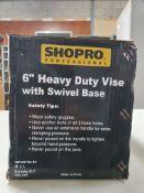 "SHOPRO: 6"" HEAVY DUTY TABLE VISE WITH SWIVEL BASE"