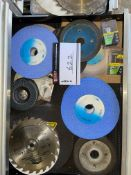 LOT/ GRINDING STORAGE, SAWBLADES, AND ASSORTMENT OF MISCELLANEOUS EQUIPMENT