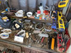 LOT/ TOOLING INCLUDING LEVELS, VALENITE BITS, BLADES, HAND SAWS ETC