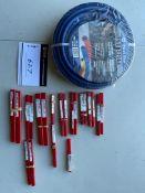 LOT/ REINFORCED PVC AIR HOSE, REAMERS 15/32 4001/630 REAMER, STR FLT, 15/64, 7/16, 11/32, 13/64