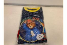 (NO VAT) 51 X OFFICIAL BRANDED MERCHANDISE PADDINGTON BEAR PJ'S AGE 2-3 AND 3-4