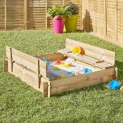 PALLET TO CONTAIN 21 x NEW BLOOMA KIDS WOODEN SAND PIT BENCHES - SIZE: 120(W)x120(D)x20(H)CM.