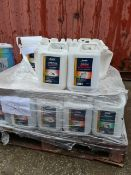 (S109) PALLET TO CONTAIN APPROX 50 x 5L TUBS CONTAINING BOSTIC CEMENTONE DUST PROOFER & HARDENER,