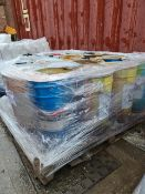 (S110) PALLET TO CONTAIN 15 x 25L TUBS TO CONTAIN TOUGH SEAL GRET, SHEET STEEL PRIMER ETC. PALLET