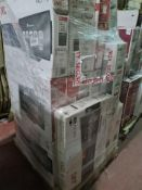 (J180) PALLET TO CONTAIN 18 x VARIOUS RETURNED TVS TO INCLUDE JVC 32 INCH, JVC 40 INCH. NOTE: